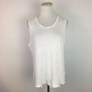 J.Crew Women's White Linen Pom Pom Tank Top Shirt